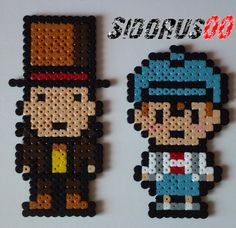 Professor Layton and Clive Dove perler beads sprites hama by Sidorus00
