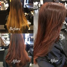 Grown out natural ombré to reddish brown all over color I did on a client.