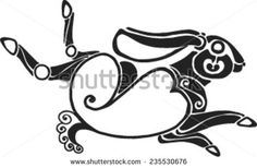 the running twisted hare in style of Scythian tattoos - stock vector