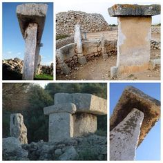 "Taula at Trepuco with contemporary Talaiot ""watchtower"". They are all over Menorca and Majorca. Trepuco is just outside Mahon (Mao) Menorca Spain. c.Bronze Age,"