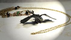 Toothless Night Fury Necklace, How To Train Your Dragon Necklace, Repurposed Night Fury Dragon Toy Necklace