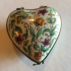 French Accents Colored and Gold Heart Floral Box Wedding Le from Limoges France | eBay
