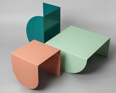 dávid tarcali / studio nomad '3legs' a collection of tables, 2014 powder-coated metal