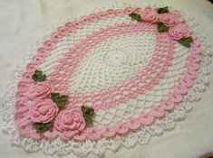 Mother's day pink roses oval crocheted  doily  by Aeshagirl