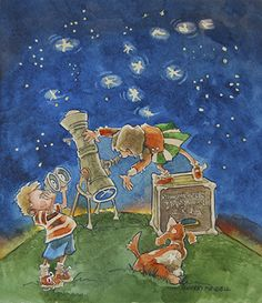 """Children's Illustration for West Bountiful Elementary """"Staring Into Space"""" by Sherry Meidell"""