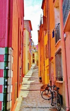 Beautiful, bold and bright Perpignan , France. The most colourful street you ever did see.