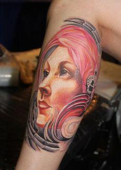 Татуировка портрет женщины фэнтези