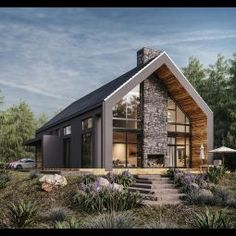 Yet another single-family house visualized for a polish client! Modern Barn House, Modern House Design, Modern Cabins, Villa Design, Home Building Design, Building A House, Future House, Modern Farmhouse Exterior, Dream House Exterior