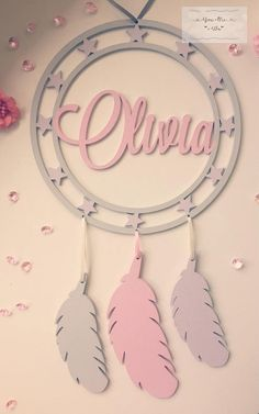 Personalised Dream Catcher, Name Dream Catcher Dreamcatcher, Girl's Dream Catcher, Feather, Wooden Dream Catcher, Girl's Room, Nursery