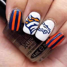 Broncos Manicure For Super Bowl XLVII