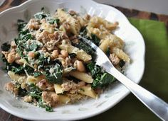 My Tiny Oven: Penne with Chicken Sausage, Kale and White Beans for One