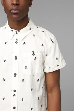82f2ee77987f KC By Kill City Skull Embroidery Button-Down Shirt