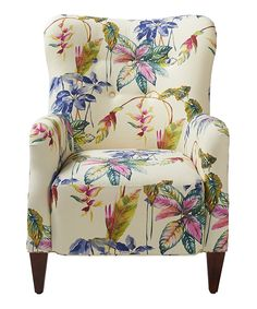 Cream & Blue Floral Arm Chair