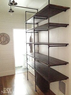 {Tutorial} industrial pipe shelving. As an alternative to built-ins in the office?