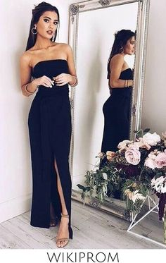 2019 Strapless Evening Dresses Sheath/Column Chiffon With Sash And Slit Floor Length, This dress could be custom made, there are no extra cost to do custom size and color Split Prom Dresses, Black Prom Dresses, Strapless Dress Formal, Summer Dresses, Formal Dresses, Wedding Dresses, Affordable Prom Dresses, Prom Dresses Online, Special Occasion Dresses