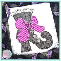 Witch Boot Big Bow Bean Stitch Applique Design