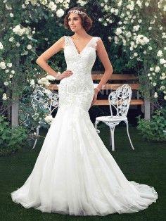 Bretelle fine robe de mariée sirène col en v avec dentelle pas cher