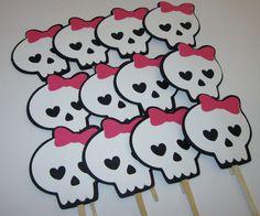 Hot Pink Skull, Monster High inspired Cupcake Toppers set of 12.
