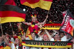 Supporters celebrate after Germany beat the Netherlands in their Group B Euro 2012 soccer match, at the Fan Mile in Berlin, June 13, 2012.