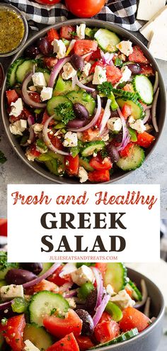 Greek Salad is a full of flavor and crunch! Quick and easy to make, pair it with rotisserie chicken or seafood for a delicious and healthy meal! Best Greek Salad, Greek Salad Recipes, Chicken Salad Recipes, Easy Salads, Healthy Salad Recipes, Healthy Food, Healthy Meals For Two, Healthy Summer, Healthy Habits
