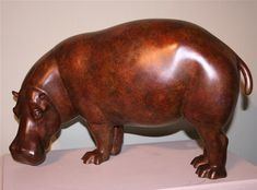 This hippo sculpture has been exhibited at the Masterpiece Fair, London in 2013, the premier showcase for international art. The artist's focus has been on the heavy rounded form and characteristic standing pose. An edition of twelve bronzes