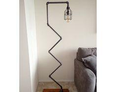 Modern Industrial Pipe Floor Lamp with Vintage Edison Bulb