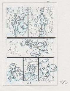 Tom Strong 4 pg 7 prelim page featuring the Nazis Heidi Weiss, in spacetrash art's Arthur Adams Comic Art Gallery Room - 1029670