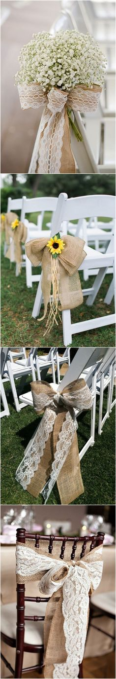 rustic country burlap wedding chair ideas #weddings #countryweddings #weddingideas
