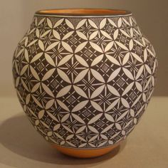Pueblo:  Acoma  Artist:  Rebecca Lucario   Date Created: 2013  Dimensions:  4 1/4 in H by 4 1/4 in Dia   Item Number:  xxack3222  Price:  $ 1250 Description:  Water jar with swirl geometric design New Arrival