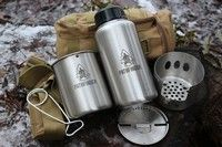 Pathfinder Stainless Steel Bottle and Cookset Stainless Steel Bottle, Camping Equipment, Bushcraft, Survival, Fire, Camping Products, Camping Gear, Camp Gear