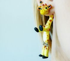 giraffe fake gauge, fake plug, two part earrings, camelopard Piercing, Fake Tunnel, Fake Expander, clinging earring, halloween front back by JEWELRYandPLEASURE on Etsy