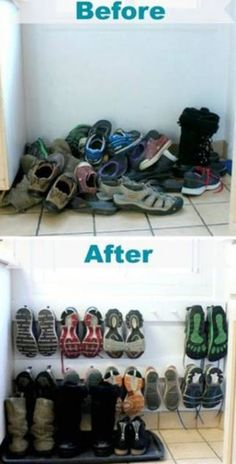 Perchero para zapatos,  encuentra ésta y otras opciones para almacenar cosas en lugares pequeños aquí...http://www.1001consejos.com/ideas-para-almacenar-en-espacios-pequenos/