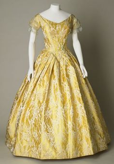 Yellow Brocade Dress from the 1840s. English.