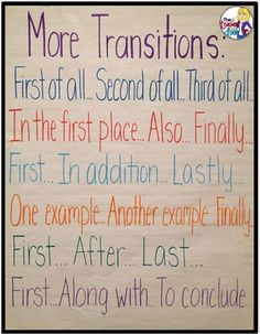 Teaching Paragraph Writing: Transitions - The Teacher Next Door ...