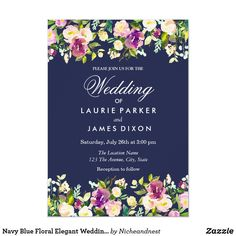 Shop Navy Blue Floral Elegant Wedding Invitation created by Nicheandnest. Navy Wedding Invitations, Zazzle Invitations, Party Invitations, Paper Design, White Envelopes, Reception, Card Making, Navy Blue, Watercolor