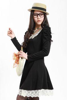 Long Sleeve Dress, Green dress, white dress, pink dress, Crocheted Collar, A-Line dress, cute dresses, asian dress, asian clothing, korean d...