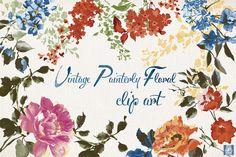 Vector Vintage Floral Clip Art + PNG