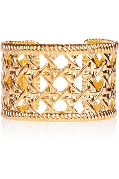 Woven-effect gold-plated cuff by Kenneth Jay Lane