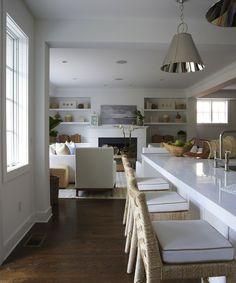 Lynn Morgan Design - kitchens - Restoration Warehouse Altamont Metal Pendant, coffee stained hardwood floors, coffee stained kitchen floors,...
