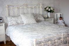 My new bedroom Laura Ashley Josette Grey white Vintage Damask <3