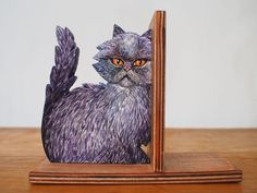 Hand Painted Sculpted Cat Book-End Original Art by Cataholics