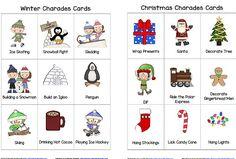 Winter and Christmas Charades- Free Printable Game for Kids ~