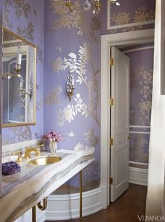 Not so fond of them in a bathroom, but lavender and gold are lovely together