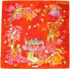 SALVATORE FERRAGAMO bright red JUNGLE PARADISE birds & animals scarf NEW Authent #SalvatoreFerragamo #Scarf #Any