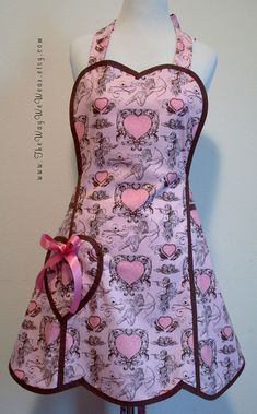 1940's Heart Bib Valentines Apron - Vintage Reproduction (Pink & Chocolate Cupids Hearts) FRONT VIEW | by TheWayWeWear