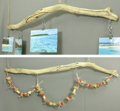 Driftwood photo holder mobile with Christmas garland for holiday and year-round wall decor. Hang the driftwood photo hanger and favorite photos all year with the included photo clips. https://www.etsy.com/listing/169957497/driftwood-photo-holder-mobile-with?ref=shop_home_active