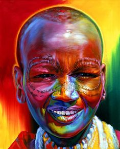 Girl Acrylic on Canvas 80 x 64 inches Tanzania ~Stephen Bennetts World Portraits