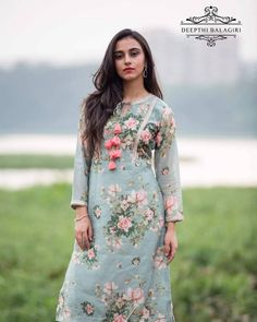 Cotton kurti designs - Image may contain 1 person, standing, text and outdoor Salwar Designs, Kurta Designs Women, Kurti Designs Party Wear, Neck Designs For Suits, Dress Neck Designs, Designs For Dresses, Blouse Designs, Churidhar Designs, Party Kleidung