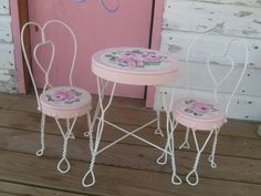 Exceptional Shabby Hp Roses Hand Painted Vintage Ice Cream Parlor Table And Char Set  Shabby Shabby