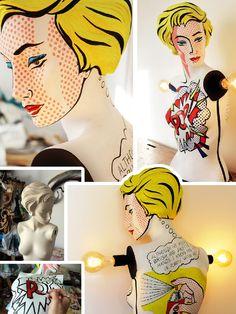 lichtenstein mannequin lamp by La Shenda Deco #pinoftheday